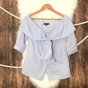 Romeo & Juliet Couture | Striped Shoulder Bow Top
